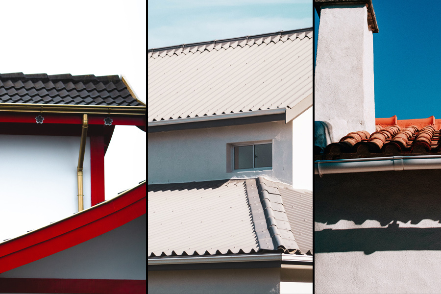 gutter cleaning in Ocean County; triage of pictures showing gutters made of different materials